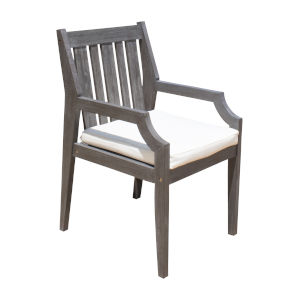Poolside Canvas Natural Outdoor Dining Arm Chair, Set of Two