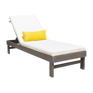 Poolside Canvas Natural Outdoor Chaise Lounger with Cushion