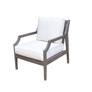 Poolside Canvas Coal Outdoor Lounge Chair with Cushion