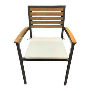 Boca Grande Linen Silver Outdoor Dining Arm Chair, Set of Two