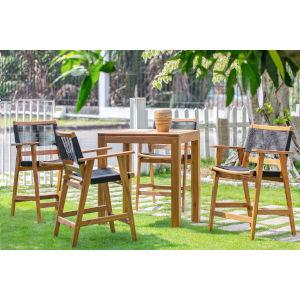 Laguna Natural Five-Piece Outdoor Barstool Pub Dining Set
