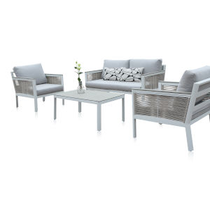 Santa Monica Canvas Taupe Four-Piece Outdoor Seating Set