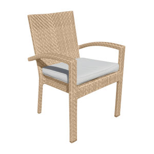 Austin Linen Champagne Outdoor Dining Arm Chair, Set of Two