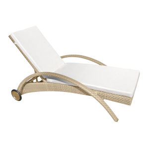 Austin Canvas Taupe Chaise Lounge Chair with Cushion
