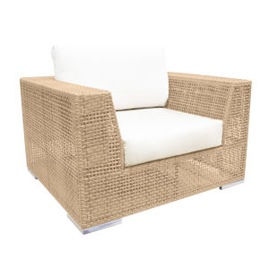Austin Canvas Taupe Outdoor Lounge Chair with Cushion