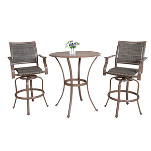 Espresso Outdoor Slatted Pub Table Set, 3 Piece