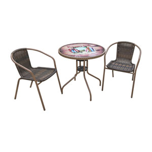 Espresso Outdoor Bistro Sets, 3 Piece