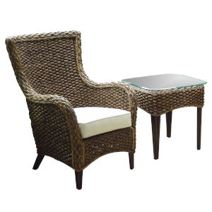 Sanibel Canvas Heather Beige Two-Piece Lounge Chair Set with Cushion