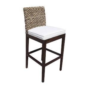 Sanibel Linen Silver Indoor Barstool with Cushion
