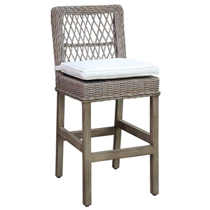 Seaside York Jute Barstool with Cushion