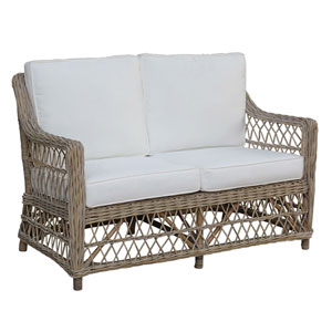 Seaside York Jute Loveseat with Cushion