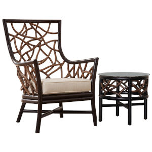Trinidad Palm Life Mineral Two-Piece Occasional Chair Set with Cushion
