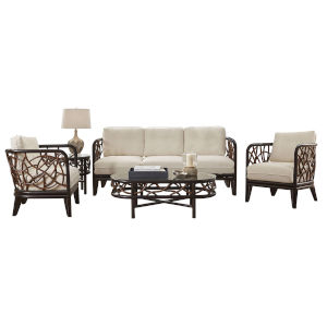 Trinidad Canvas Navy Five-Piece Living Set with Cushion