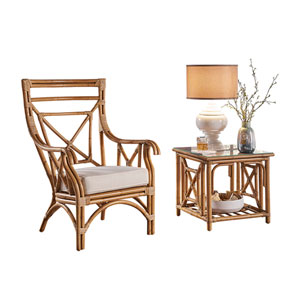 Plantation Bay York Dove Occasional Chair with End Table