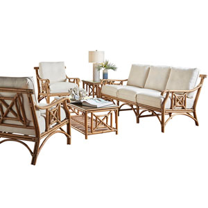 Plantation Bay Patriot Cherry Five-Piece Living Set with Cushion