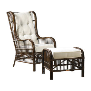 Bora Bora York Bluebell  Occasional Chair with Ottoman