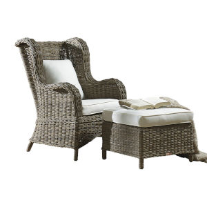 Exuma York Peacock Two-Piece Occasional Chair with Ottoman