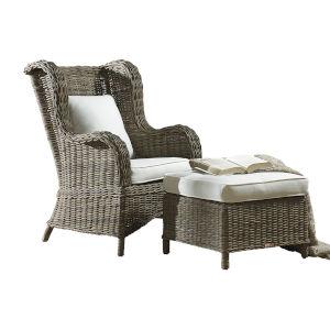 Exuma Canvas Lido Indigo Two-Piece Occasional Chair with Cushion