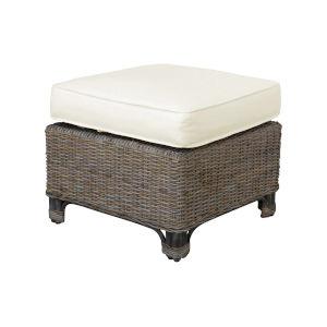 Exuma Canvas Coal Ottoman with Cushion