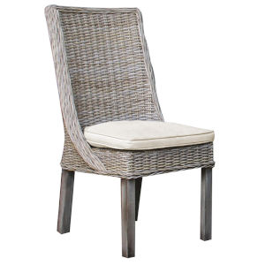 Exuma Linen Champagne Indoor Dining Chair with Cushion