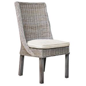 Exuma Canvas Coal Indoor Dining Chair with Cushion