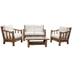 Kauai Bamboo Patriot Ivy Four-Piece Living Set with Cushion