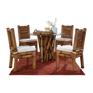 Kauai Bamboo Rave Lemon Six-Piece Dining Set with Cushion