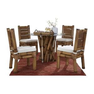 Kauai Bamboo Kalani Oyster Six-Piece Dining Set with Cushion
