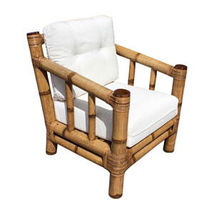 Kauai Rave Lemon Bamboo Lounge Chair with Cushion