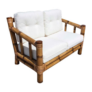 Kauai Bamboo York Dove Loveseat with Cushion