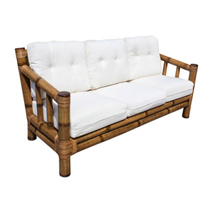 Kauai Bamboo Patriot Cherry Sofa with Cushion