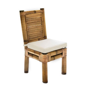Kauai Bamboo Kalani Oyster Side Chair with Cushion
