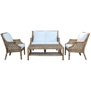 Old Havana Patriot Cherry Four-Piece Living Set with Cushion