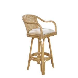 Key West York Peacock Indoor Swivel Rattan and Wicker 30-Inch Barstool in Natural Finish