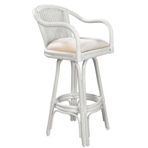 Key West York Bluebell Indoor Swivel Rattan and Wicker 30-Inch Barstool in Whitewash Finish