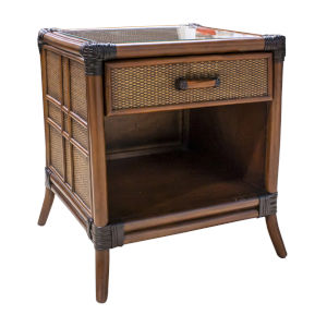 Palm Cove Antique One Drawer Nightstand with Glass