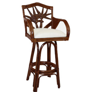 Cancun Palm Rave Lemon Swivel Rattan and Wicker 24-Inch Counter stool