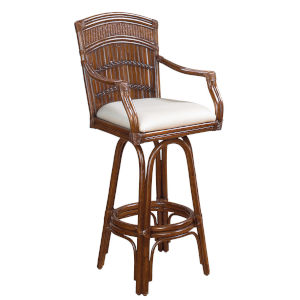 Polynesian York Peacock Swivel Bamboo and Rattan 30-Inch Barstool
