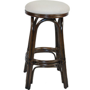 Polynesian Kalani Oyster Indoor Swivel Rattan and Wicker 30-Inch Barstool in Antique Finish