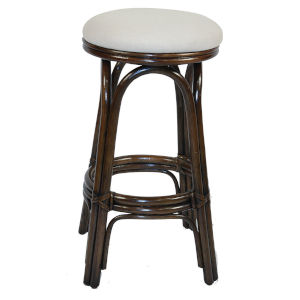 Polynesian Patriot Cherry Indoor Swivel Rattan and Wicker 24-Inch Counter stool in Antique Finish