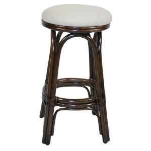 Polynesian Boca Grande Indoor Swivel Rattan and Wicker 24-Inch Counter stool in Antique Finish