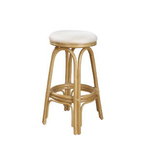 Polynesian Patriot Cherry Indoor Swivel Rattan and Wicker 24-Inch Counter stool in Natural Finish