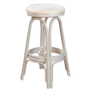 Polynesian York Jute Indoor Swivel Rattan and Wicker 30-Inch Barstool in Whitewash Finish