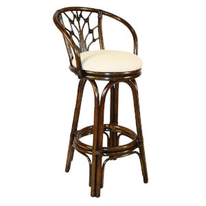 Valencia Patriot Cherry Indoor Swivel Rattan and Wicker 30-Inch Barstool in Antique Finish
