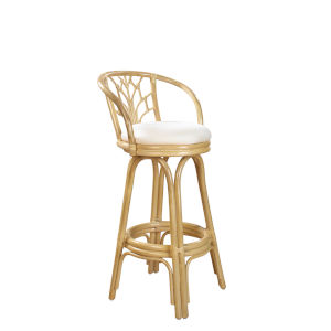 Valencia Rave Lemon Indoor Swivel Rattan and Wicker 30-Inch Barstool in Natural Finish