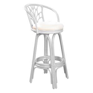 Valencia Boca Grande Indoor Swivel Rattan and Wicker 24-Inch Counter stool in Whitewash Finish