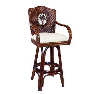 Lucaya Patriot Birch Swivel Rattan and Wicker 30-Inch Barstool