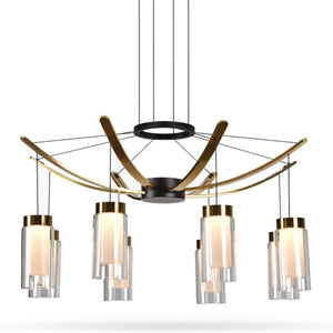 Genoa Black Eight-Light Adjustable LED Chandelier