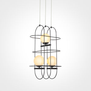 Lyra Black LED Chandelier Title 24