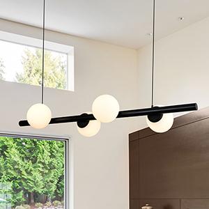 Capri Black Four-Light LED Chandelier